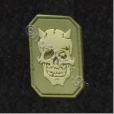 Devil Skull, Αυτοκόλλητο Σήμα από PVC (Χακί)