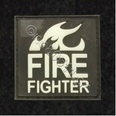 Fire Fighter, Αυτοκόλλητο Σήμα από PVC (Μαύρο-Λευκό)