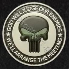 Punisher Skull, Αυτοκόλλητο Σήμα από PVC (Μαύρο-Γκρι-Πράσινο)