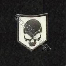 Death Skull, Αυτοκόλλητο Σήμα από PVC (Μαύρο-Λευκό)