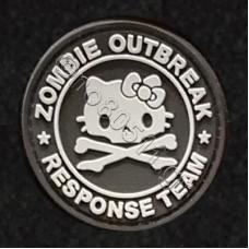 Zombie Outbreak Response Team Kitty, Αυτοκόλλητο Σήμα από PVC (Μαύρο-Λευκό)